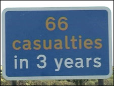 A1 casualty signs in Northumberland