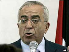 Palestinian prime minister Salam Fayyad speaks in the West Bank city of Ramallah