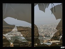 Shattered window in southern Beirut, Lebanon