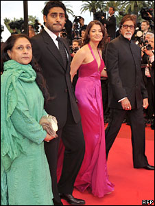 Amitabh Bachchan and his family at Cannes