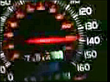 Still from You Tube showing speedometer at 140mph