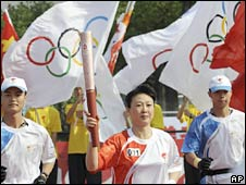 The Olympic torch relay in Hangzhou, eastern China. Photo: 18 May 2008