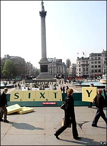 A seven-metre wide Scrabble tile rack is constructed in Trafalgar Square, London
