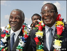 Thabo Mbeki and Robert Mugabe (9 May 2008)