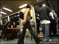 passengers on the San Francisco subway