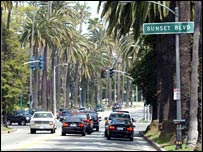 Cars driving down the Sunset Boulevard
