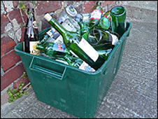 Recycling box of bottles