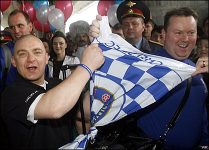 Chelsea fans arrive in Moscow