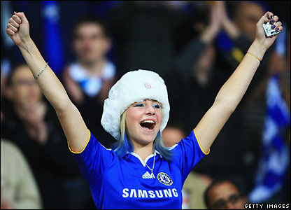 A Chelsea fan chants prior to kick-off