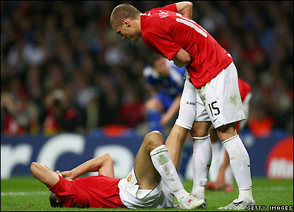 Ferdinand goes down with cramp