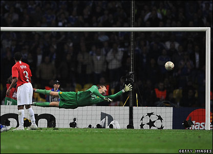 Van der Sar is beaten by Drogba's shot