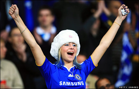 young Chelsea fan enjoys the atmosphere prior to kick-off during the UEFA Champions League Final match