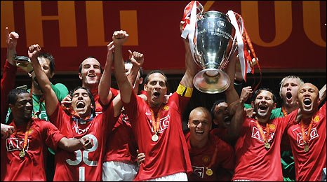 Manchester United players celebrate their dramatic Champions League win in Moscow