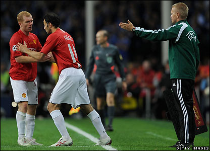 Giggs comes off the bench