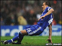 John Terry slips as he takes his penalty for Chelsea