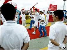 Torch relay resumes at Ningbo, Zhejiang Province, on 22 May 2008
