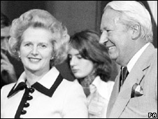 Margaret Thatcher and Edward Heath in 1975