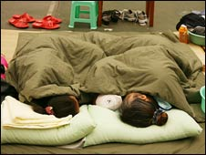 Chinese girls sleeping in a refugee camp