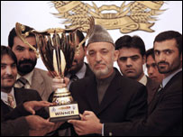 Afghanistan cricket team with Asia Twenty20 trophy