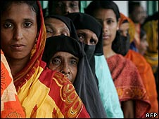 Voters queue for registration in Bangladesh