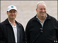 Simon Taufel and Darrell Hair at an Old Trafford nets session