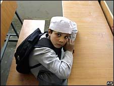 Boy at school in Bagram, north of Kabul, 24 March 2008