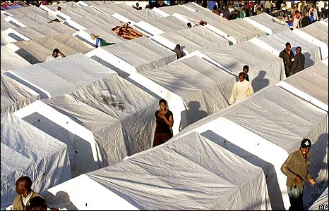 Tents in temporary refugee camp at Primrose police station, Johannesburg