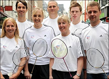 (l-r) Gail Emms, Nathan Robertson, Donna Kellogg, team leader Andy Wood, Tracey Hallam, Andrew Smith and Anthony Clark