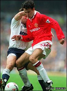 Ryan Giggs battles with Tottenham in September 1992