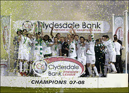 The green and white confetti flies as Celtic are crowned SPL Champions