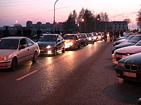 Line-up of cars in Lodz