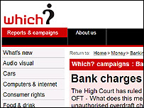 The Which? website page for their campaign on bank charges (credit: Which? website)
