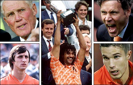 Clockwise from top left: Rinus Michels, Ruud Gullit lifts the trophy in 1988, Marco van Basten, Robin van Persie and Johan Cruyff