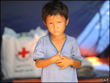 A boy displaced by Cyclone Nargis in Kyondah village, Burma, on 22 May 2008