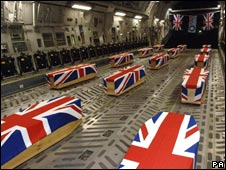 Coffins of the Nimrod crash victims