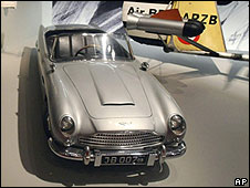 Aston Martin DB5 model currently on display at the Imperial War Museum exhibition For Your Eyes Only