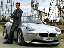 Pierce Brosnan as James Bond, driving a BMW Z8