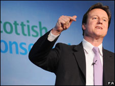 David Cameron at the Tory conference in  Ayr