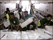 Workers load humanitarian supplies to be sent by the IFRC to Burma