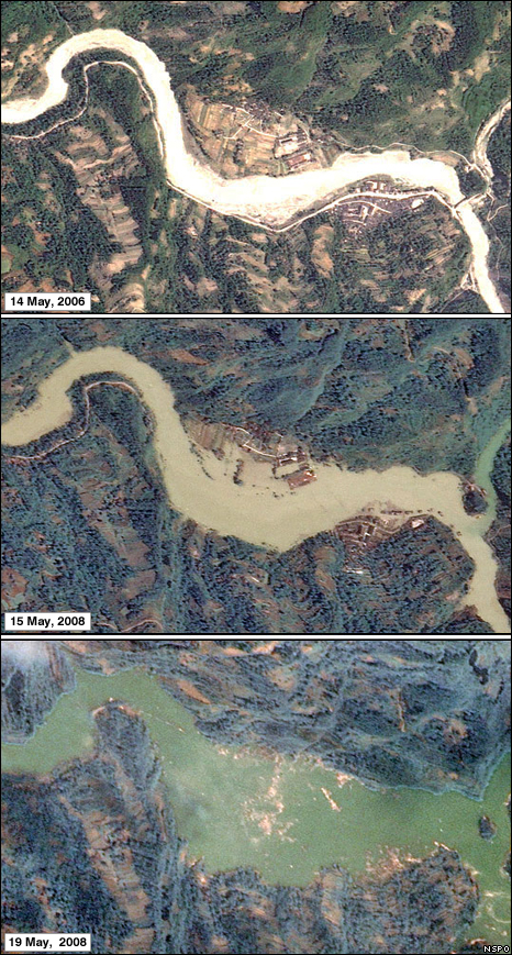 Images showing a lake forming