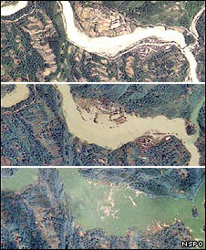 satellite images show lake forming