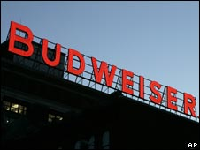 Budweiser sign at Anhueser-Busch brewery in St Louis
