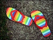 Stripy flip-flops