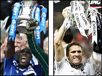 Portsmouth's Sol Campbell lifts the FA Cup and Tottenham's Robbie Keane lifts the Carling Cup