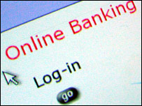 Online banking log-in screen