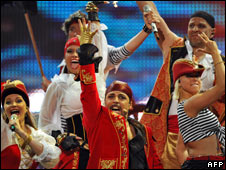 """Latvia's """"Pirates of the Sea"""" performs during the dress rehearsal in Belgrade"""