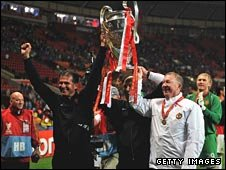Sir Alex Ferguson and Carlos Queiroz with the European Cup