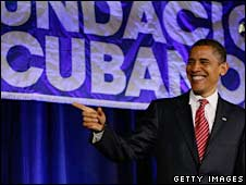 Barack Obama speaks in Miami on 23 May 2008