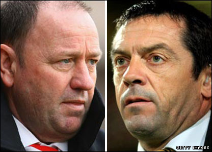 Bristol City manager Gary Johnson and Hull boss Phil Brown