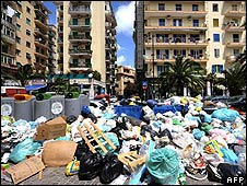 Uncollected rubbish in Naples on 20 May
